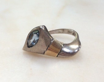 Sterling Silver 14K Gold Aquamarine Ring