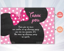 Baby Minnie mouse thank you card  - minnie mouse birthday party - girl invitation - pink invitation - personalized - printable