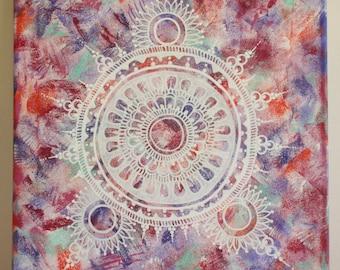 Mandala Painting, Burgundy, Purple, Green & Orange, Handpainted with acrylic, Hippie art, Home decor, FREE SHIPPING