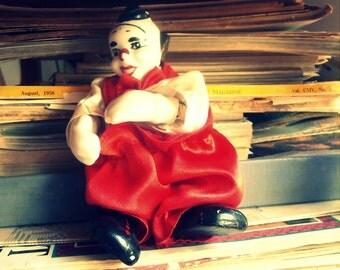 Two vintage porcelain clown dolls / Portuguese vintage / clowns