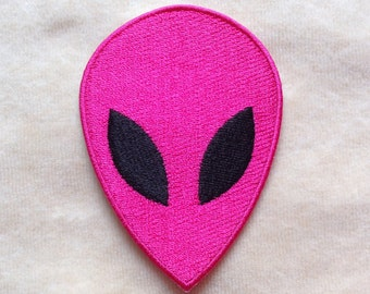 Alien UFO Iron On Patch #Pink