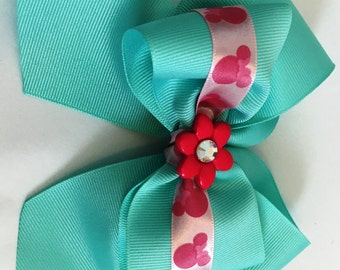 Baby Blue and Pink Flower Hair Clip