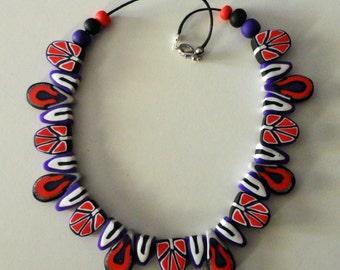 Fimo necklace purple-red-white