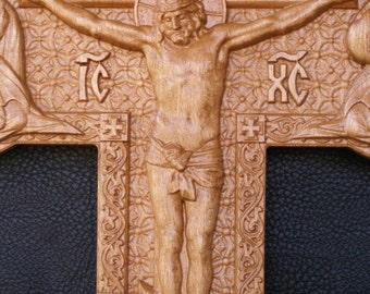 Crucifix Jesus Christ  Cross (2) - 3D Art Orthodox Wood Carved religious