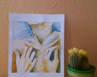 Body part, chest and hands, watercolor drawing
