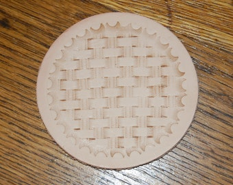 Leather hand tooled coasters.  Set of 6.