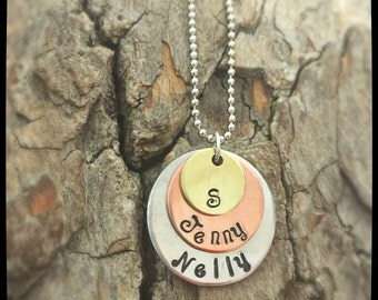Personalized Layered Disk Necklace