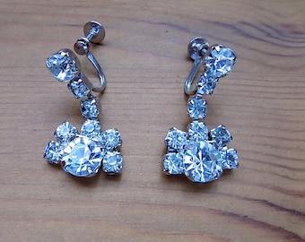 Fabulous 1950's Diamante Sparkling Drop Screw Back Earrings.