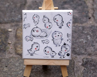 Miniature drawing on canvas - The Study of Chicken