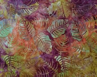 Batik Leaf Print Stuffed Throw Pillow with Orange Back