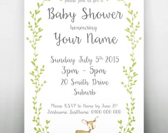 Woodland Baby Shower Printable Invitation