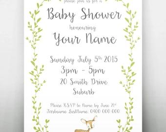 Woodland Baby Shower Printable Invitation