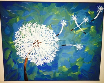 dandelion contemporary acrylic painting