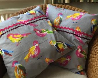 Paroquet birds cushion cover