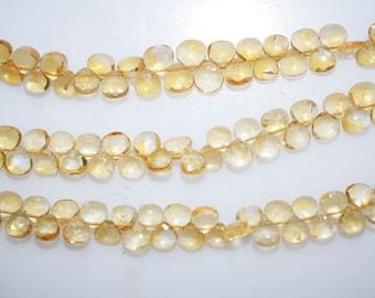 """1 Strand Citrine Faceted Heart Shape Beads-Citrine Heart Shape Briolette, 5.50 x 5.50 mm, 7"""", BL304"""