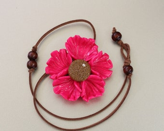 Polymer clay pink flower statement necklace