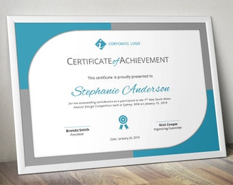 Curved border corporate business certificate template for MS Word (docx), certificate design, event certificate, certificate of achievement
