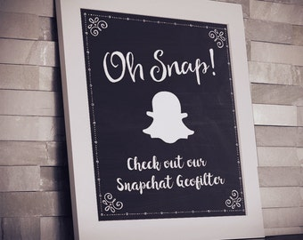 """Printable Chalkboard Social Media Geofilter Event or Wedding Sign - Black, 2 Sizes: 8""""x10"""" and 5""""x7"""", JPG Instant Download (NOT EDITABLE)"""