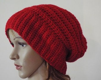 red slouch hat, brim can be folded
