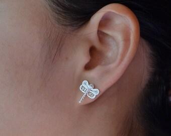 Firefly filigree silver stud earrings