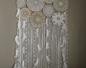 GIANT XL doily birch branch wall hanging, US free shipping!