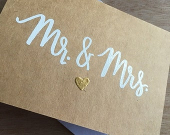 Mr. and Mrs. Card | Wedding Card | Bride and Groom | Anniversary Card | Wedding Stationary | Hand Lettered | Embossed