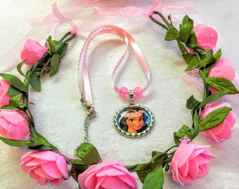 1 Set Moana Crown Pink Flower And Necklace