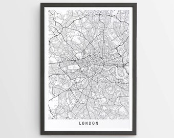 London Map Print - Minimalist Map / UK / United Kingdom / England / City Print / Maps / Giclee Print / Poster / Framed