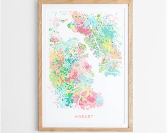 Hobart Map Print - Abstract Map / Tasmania / Australia / City Print / Australian Maps / Giclee Print / Poster