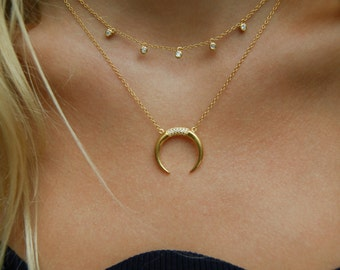 Gold necklace - horn necklace - tusk necklace - statement necklace - cz necklace - zodiac necklace - thin necklace - tusk - horn - J11383