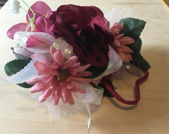 Pink and Maroon Corsage