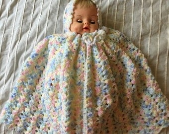 Crocheted Baby Cape with Hood