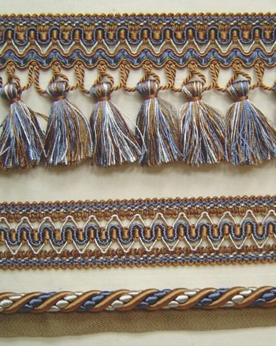 Quot gimp trim putty copen blue cream match cord tassel