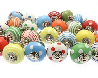 45 x Bright Spots & Stripes Mixed Ceramic Cupboard Kitchen Drawer Knobs BRGT14