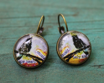 """Earrings with image of """"Music Only She Hears"""" original painting"""
