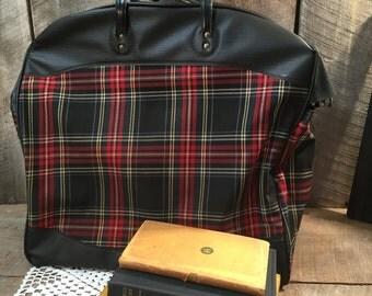 Vintage plaid tote bag, travel bag, bag, carry on, suitcase, purse, storage, decor,