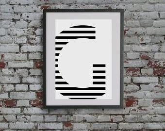 Stripe Letter G Digital Print