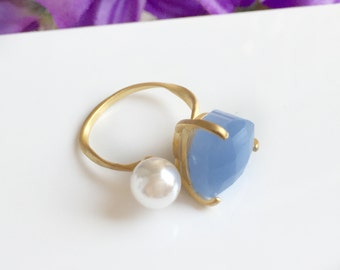 Adjustable ring, Royal blue ring, Pearl open ring, gold Pearl ring