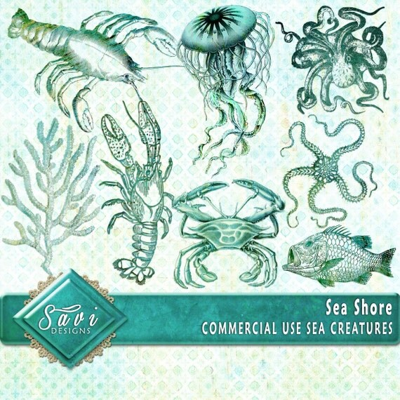 CU Commercial Use Embellishments set of 8 for Digital Scrapbooking or Craft projects SEA SHORE creatures, Designer Stock stamps