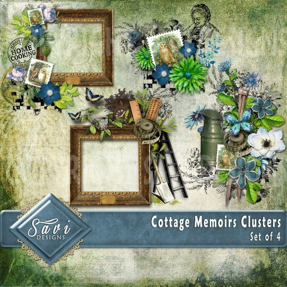 Digital Scrapbooking Clusters set of 4 - COTTAGE MEMOIRS  premade embellishment png clusters to make immediate scrap page