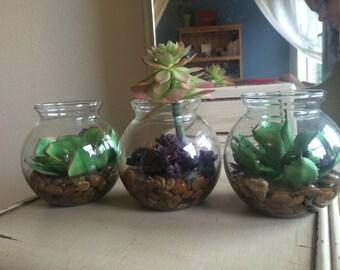 Fake Succulent trio