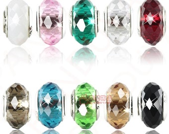20pcs  mixed  96facted crystal beads with 925 silver core DC81