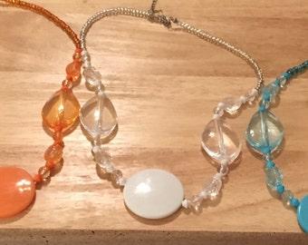 Monogram Necklace, Bead Necklace, Monogram Jewelry, White Necklace, Orange Necklace, Blue Necklace, Initial Necklace