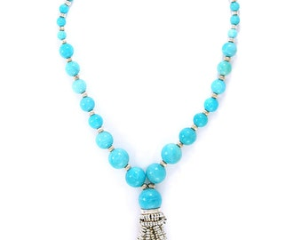 Solid Sterling Silver turquoise stone tassel necklace