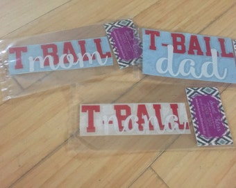 CLEARANCE SALE** Vinyl t ball mom, t ball dad and t ball nana car decals/ permanent decals/ sports family decals/ end of summer clearance