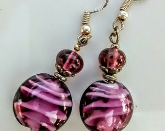 Purple Lampwork Glass Earrings