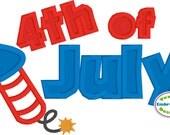 Sale ** 4th of July Firework Appliqué