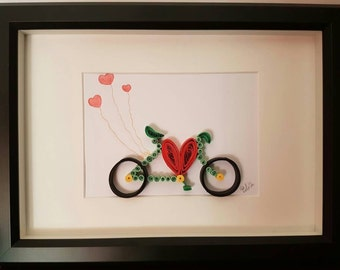 """Art painting quilling """"Bicycle love"""""""