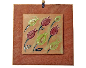 Ceramic Tile Wall Hanging of Tulips