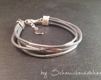 Leather Bracelet silver grey